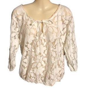 AE Cream Floral 3/4 Sleeve Blouse Size Large
